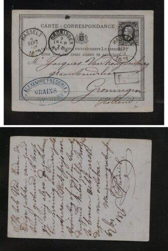 Belgium postal card to Holland nice markings 1876
