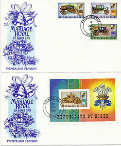 NIGER 1981 ROYAL WEDDING SET & MINIATURE SHEET ON A PAIR OF FIRST DAY COVERS