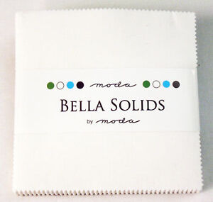 White-Bella-Solid-Moda-Charm-Pack-5-Quilt-Fabric-42-Squares