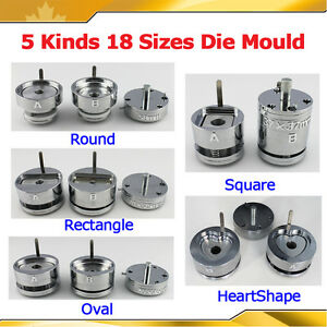 Die Moulds for Button Maker Round Oval Square Rectangle 18 sizes Badge Machine