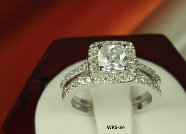 STERLING SILVER PRINCESS CUT CZ PAVE BRIDAL ENGAGEMENT WEDDING HALO RING SET