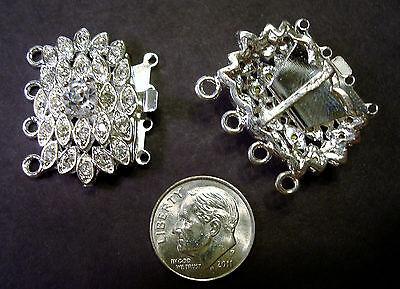 4 Strand jewelry clasp Swarovski crystal rhinestone silver plated 28mm fpc108