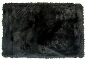 Shaggy Fluffy Flokati Rug Shag Solid Black 3 Inch Thick