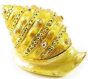 Golden-Jewelry-Box-Conch-Trinket-Rhinestone-bracelet-earring-ring-vintage-shell