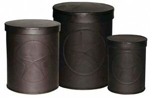 Primitive-Early-American-Country-Rustic-Barn-Star-Stacking-3-pc-Tin-Canister-Set