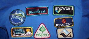 7-NEW-SKI-AREA-SNOWBOARD-PATCHS-STEAMBOAT-ASPEN-VAIL-KEYSTONE-TAHOE-SNOWBIRD