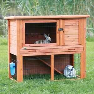2-Story-Pet-Nesting-Hutch-Rabbit-Guinea-Pig-Pen-Small-Animal-Cage-Outdoor-Wood
