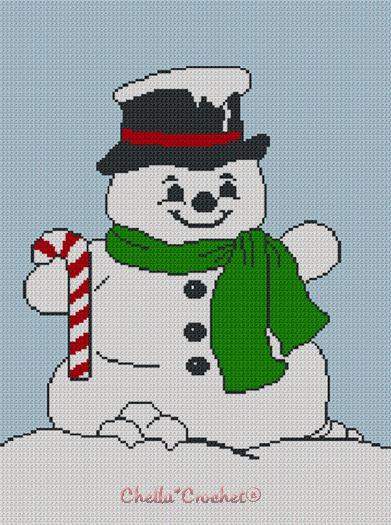 Christmas Snowman so Cute Afghan Crochet Pattern Graph