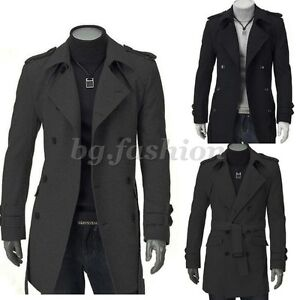 herren lang business jacke mantel trenchcoat winterjacke wintermantel gr s m l ebay. Black Bedroom Furniture Sets. Home Design Ideas