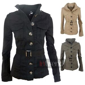 LADIES MILITARY STYLE ARMY JACKET WOMENS UTILITY COAT BLACK KHAKI ...