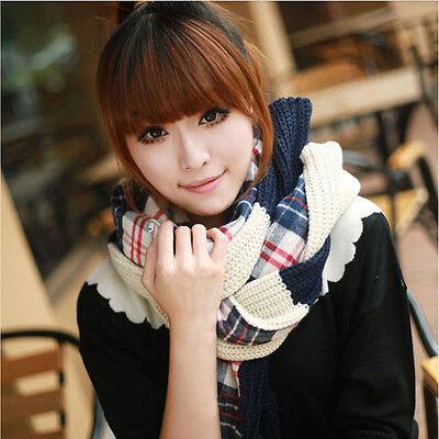 Lady Knit Wool Pashmina Soft Warm Hood Cowl Warmer Winter Shawl Scarf