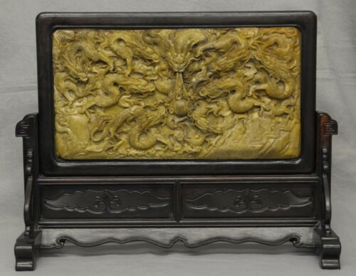 Well  Carved  Chinese  Shou-Shan  Stone  Table  Screen