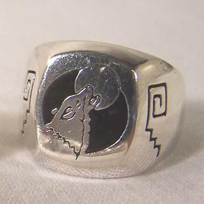1 DELUXE HOWLING WOLF AT MOON NEW SILVER BIKER RING BR96R mens WOLVES jewelry