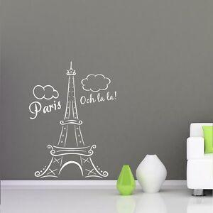 EIFFEL TOWER PARIS FRANCE OOH LA LA Clouds Vinyl Wall Decal Decor - Wall decals eiffel tower