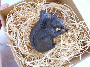 New 3D Dresden Paper Christmas Ornament Black Squirrel w Pine Cone