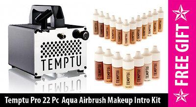 Temptu Pro Airbrush Compressor & Gun Aqua Foundation & Blush Intro Kit FREE GIFT