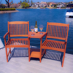 Outdoor-Patio-Furniture-Adjoining-Chairs-amp-Table-Two-Seater-Bench