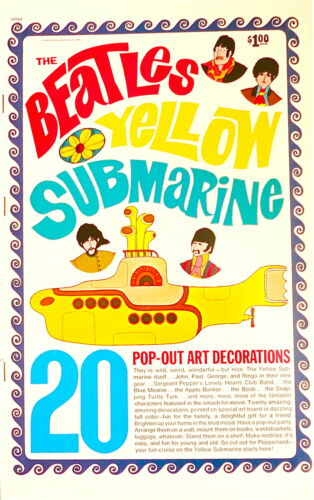 SALE Vintage BEATLES 1968 YELLOW SUBMARINE Pop Out Art Decorations Book UNUSED