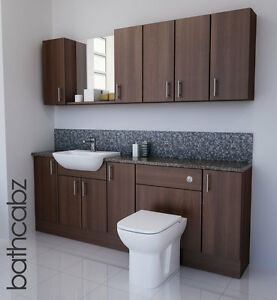 Image Is Loading AMERICAN WALNUT BATHROOM FITTED FURNITURE 2100MM WITH WALL