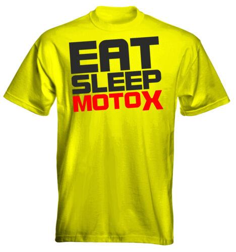 Velocitee Kids T-Shirt Eat Sleep MotoX Logo 2 Motocross Colour Options UK Seller