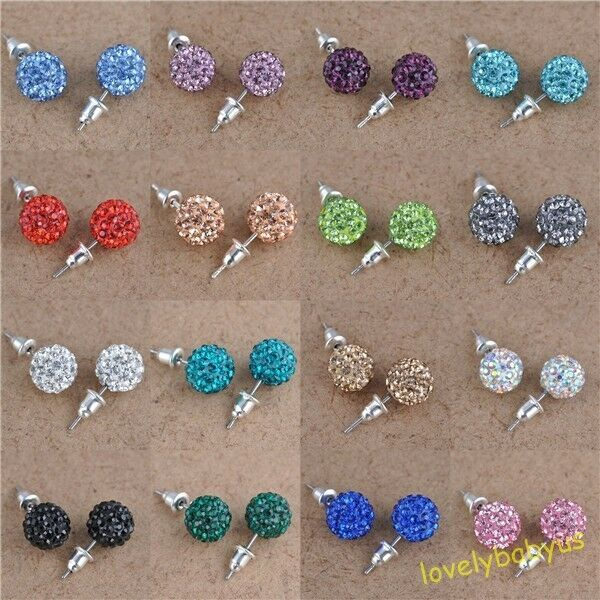 Austrian Crystal Pave Disco Clay Ball Beads Steel Stud Earrings 10 mm Any Colors