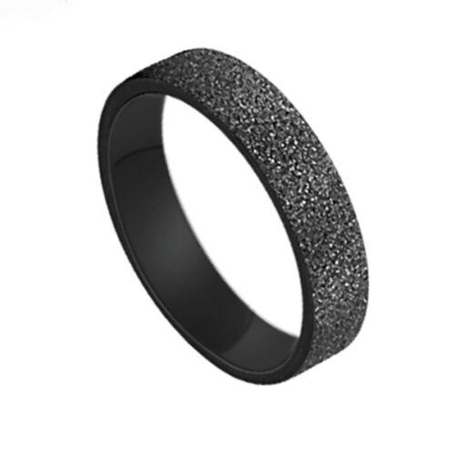 Acero de Titanio Negro Esmerilado Promise Ring Couple Wedding Bands Amante Regalo J13