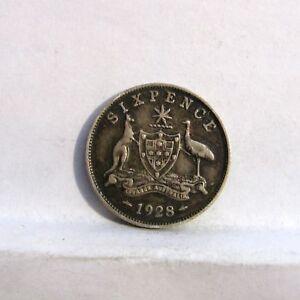 AUSTRALIA-George-V-1928-silver-6-Pence-XF