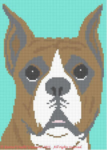 Knitting Patterns For Boxer Dogs : Crochet Patterns - BOXER dog Graph Afghan Pattern Chart eBay