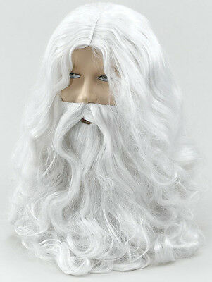 Santa Claus Father Christmas White Wig & Beard Xmas Wizard Old Man Fancy Dress