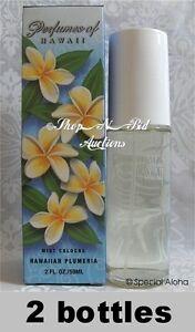 Hawaiian-PLUMERIA-COLOGNE-By-PERFUMES-OF-HAWAII-2oz-New-NIB-2-Bottle-Lei-Flower