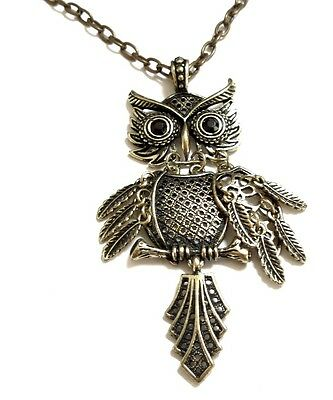 Bronze / silver movable joint cutout bronze owl necklace