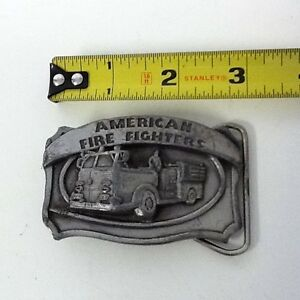 Vintage-American-Fire-Fighters-Fire-Engine-1986-Solid-Belt-Buckle