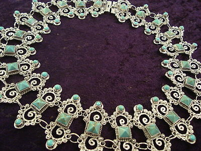 VINTAGE DESIGN TAXCO MEXICAN STERLING SILVER TURQUOISE BEAD NECKLACE MEXICO