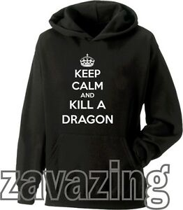 KEEP-CALM-AND-KILL-A-DRAGON-UNISEX-HOODIE-SKYRIM-ZELDA-GAMER-GIFT-CARRY-ON-FUNNY