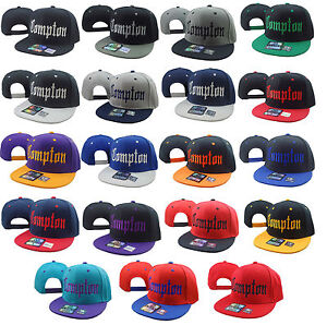 NEW-VINTAGE-COMPTON-FLAT-BILL-SNAP-BACK-BASEBALL-CAP-HAT-MANY-COLORS-AVAILABLE