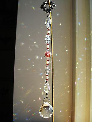 Crystal Suncatcher * VICTORIAN RED ROSE BALL DROP * Ornament * SWAROVSKI