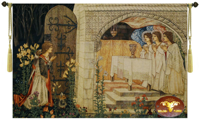 """Medieval Holy Grail TAPESTRY JACQUARD WOVEN MADE WALL HANGING Vision 47"""" X 33"""""""