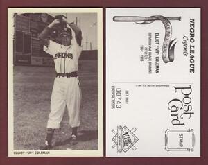 ELLIOT-COLEMAN-Birmingham-Black-Barons-NEGRO-LEAGUES-sepia-postcard-1991-Retort