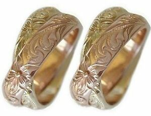 14k Gold Hawaiian Double Band Wedding Ring Set Of Two Ebay