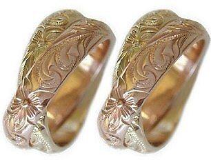 14k Gold Hawaiian Double Band Wedding Ring