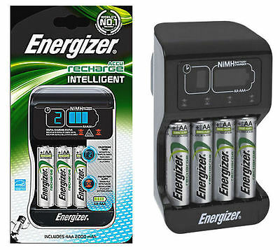 ENERGIZER INTELLIGENT CHARGER + 4 x 2000 mAh AA RECHARGEABLE BATTERIES