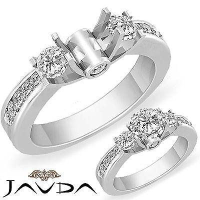 Round Diamond Classic Three 3 Stone Engagement Ring Platinum Semi Mount 0.6Ct