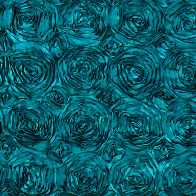 "10 Dark Teal 54""x54"" Rosette Rose Satin Table Overlays Tablecloths Event Wedding"