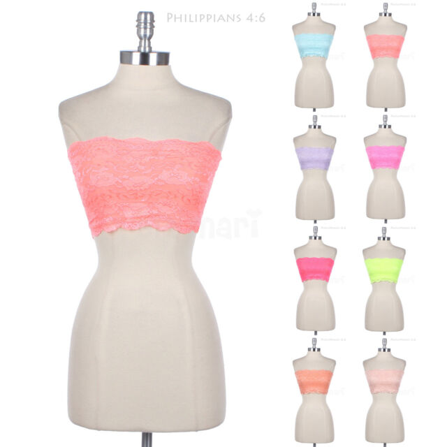 Sexy Bandeau Floral Lace Lining Bra Tube Tank Top Strapless SPANDEX S M L