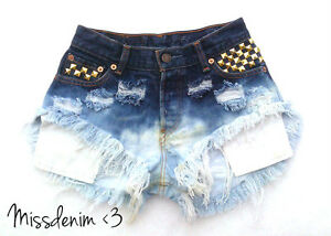 DIY-Levi-039-s-Rainbow-Vintage-Ombre-Shorts-destroyed-NEON-high-waisted-Gold-Studs