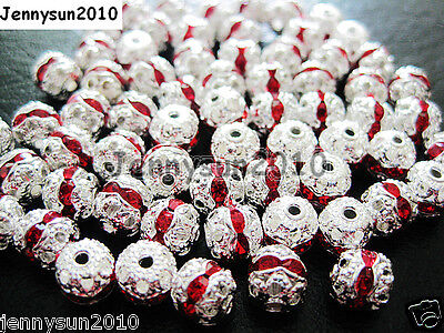 100pcs Czech Crystal Rhinestones Pave Diamante Round Spacer Beads 6mm 8mm 10mm