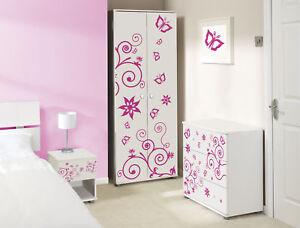 Children Kids Bedroom Furniture Set Pink Butterfly Ebay