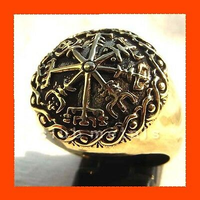 Huge VIKING RUNES NORDIC SHIELD MANDALA MEN'S RING Thor Odin Valhalla Jewelry
