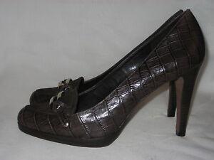 ANN-TAYLOR-Designer-Brown-Moc-Croc-Leather-Suede-Pumps-Heels-Sz-8-1-2M
