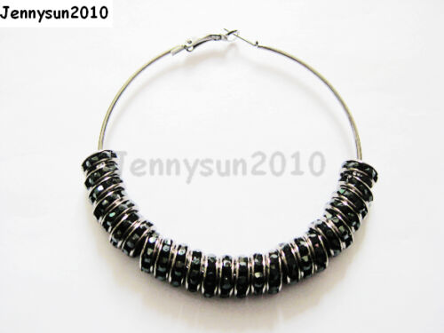 18K Metal 10 Pairs Large Round Hoops Earring Finding Silver Gunmetal Gold Plated